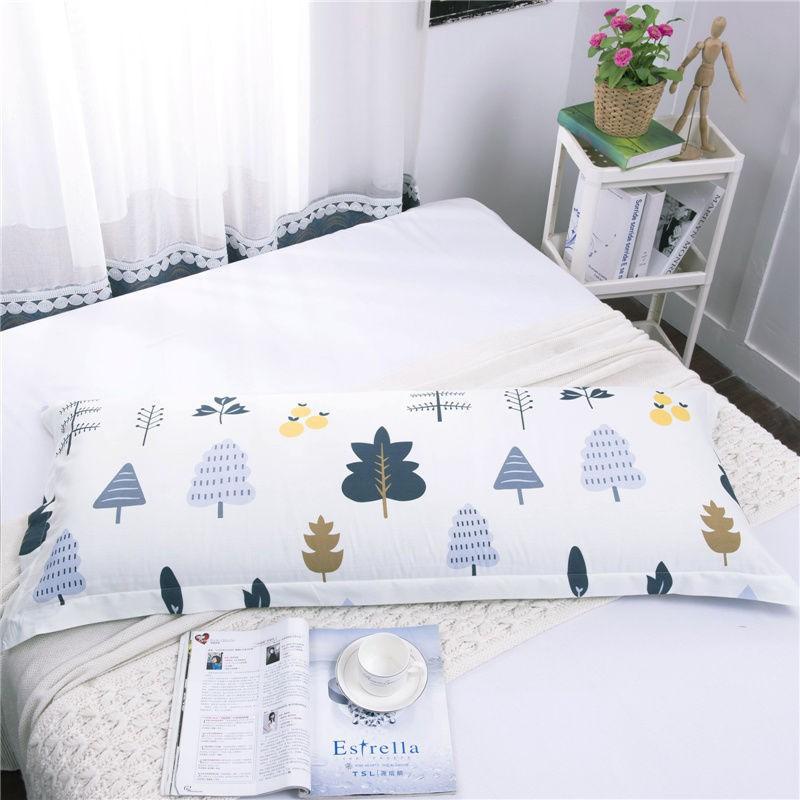 『叶浔』百貨馆枕頭套 全棉 雙人枕頭套 雙人 活性印花 情侶 加長 枕頭套 枕芯套 長形 雙人枕枕套