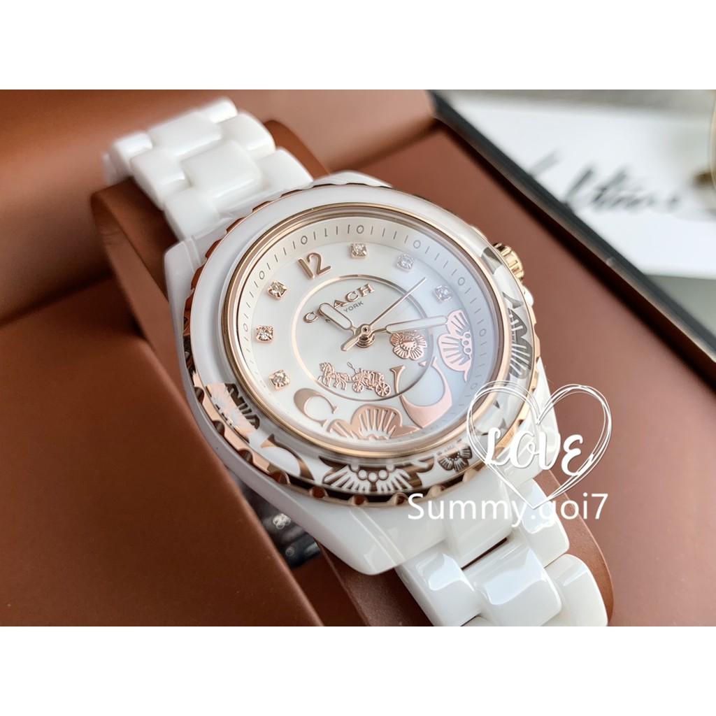 2020新品COACH蔻馳手錶 陶瓷石英腕錶 女錶 PRESTON系列 女手錶 精品腕錶 14503464 34mm禮物