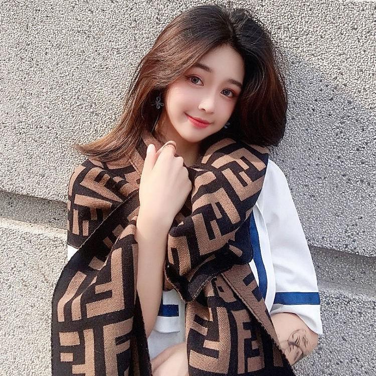 【可愛款】韓版東大門F字母仿羊絨圍巾女秋冬雙面保暖披肩百搭加厚明星同款