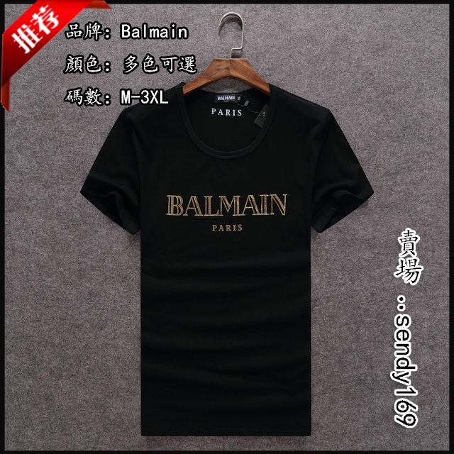 Balmain 巴爾曼 純棉短袖T恤  圓領 金色字母印花短袖上衣 打底衫 時尚潮流簡約百搭 夏季上新