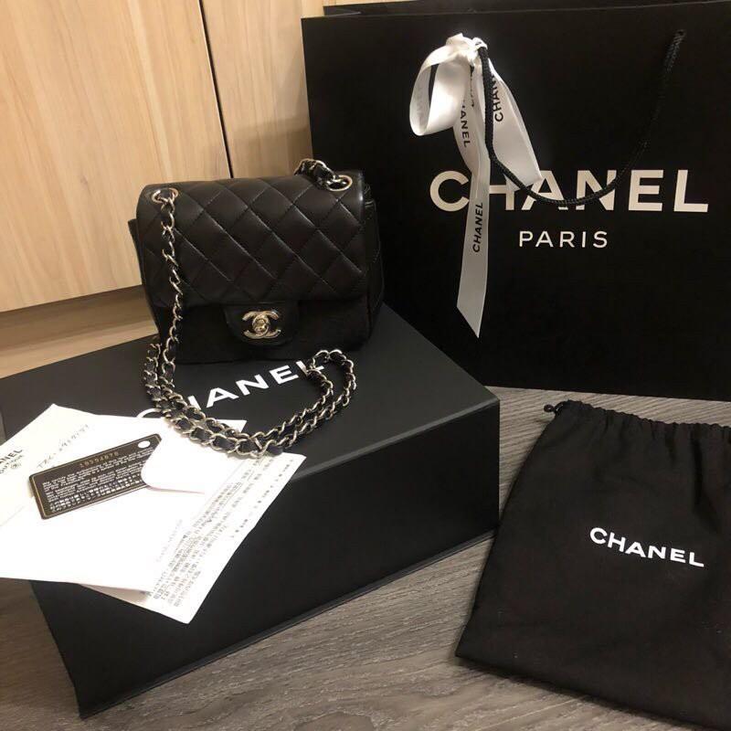 香奈兒 Chanel mini square coco 方胖子 銀鍊羊皮 17cm
