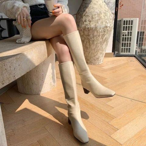 牛仔靴 騎士靴 馬丁靴 ins 強推 巨美自留~米白色真皮粗跟方頭騎士長靴及膝靴高筒靴女現貨