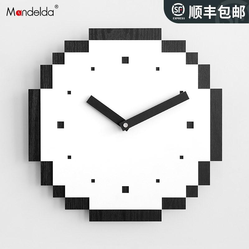 mandelda家用鐘飾創意個性藝術掛鐘客廳簡約時鐘掛墻極簡輕奢鐘表