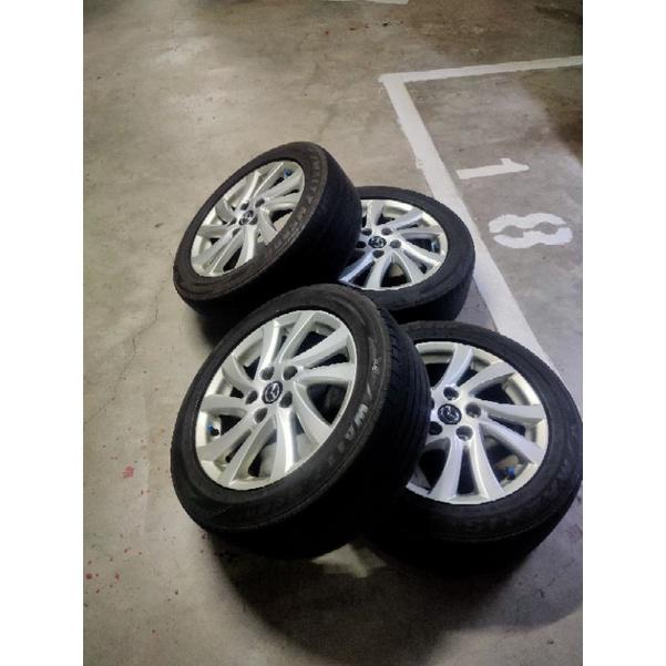 馬三馬五通用規格16吋鋁圈,含五成瑪吉斯胎四輪只賣2,000,限自取!!