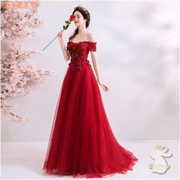 🐇寶貝兔 L925D 紅色結婚答謝宴敬酒服 新娘婚紗禮服 一字領短袖長禮服 可訂做 大尺碼 新娘宴會禮服婚紗S