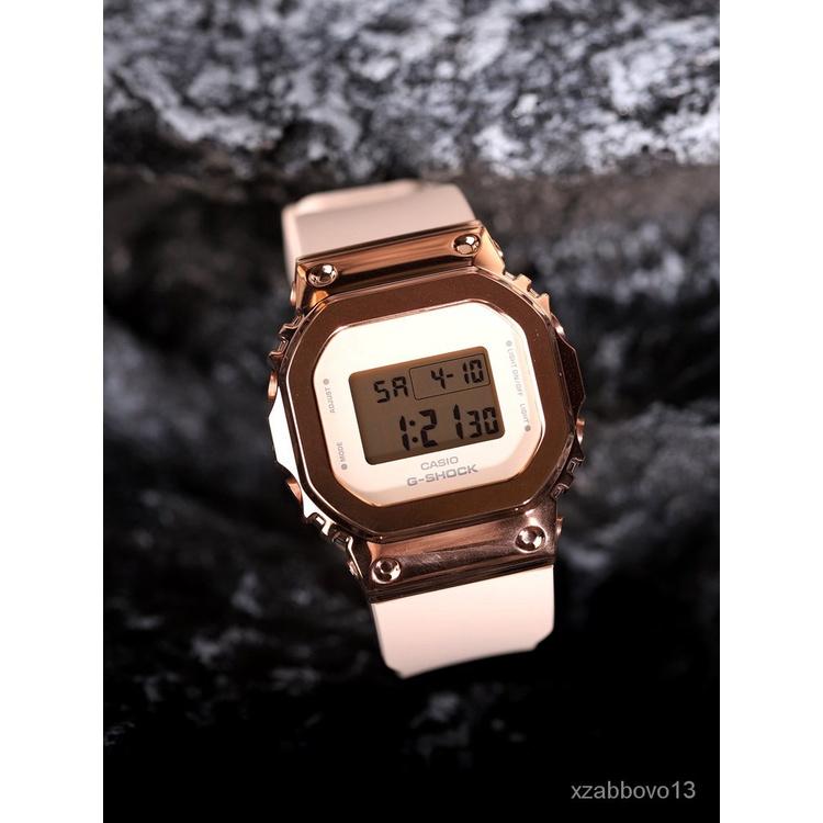 新款卡西歐手錶女G-SHOCK新復古金屬防水小方塊金色GM-S5600PG-1/4/7P 9arF