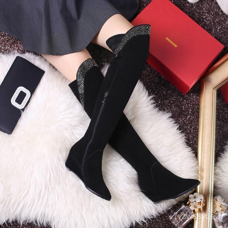 baTY 潮高筒靴中跟真皮新款尖頭水鑽坡跟過膝2020女靴子騎士靴秋冬長靴