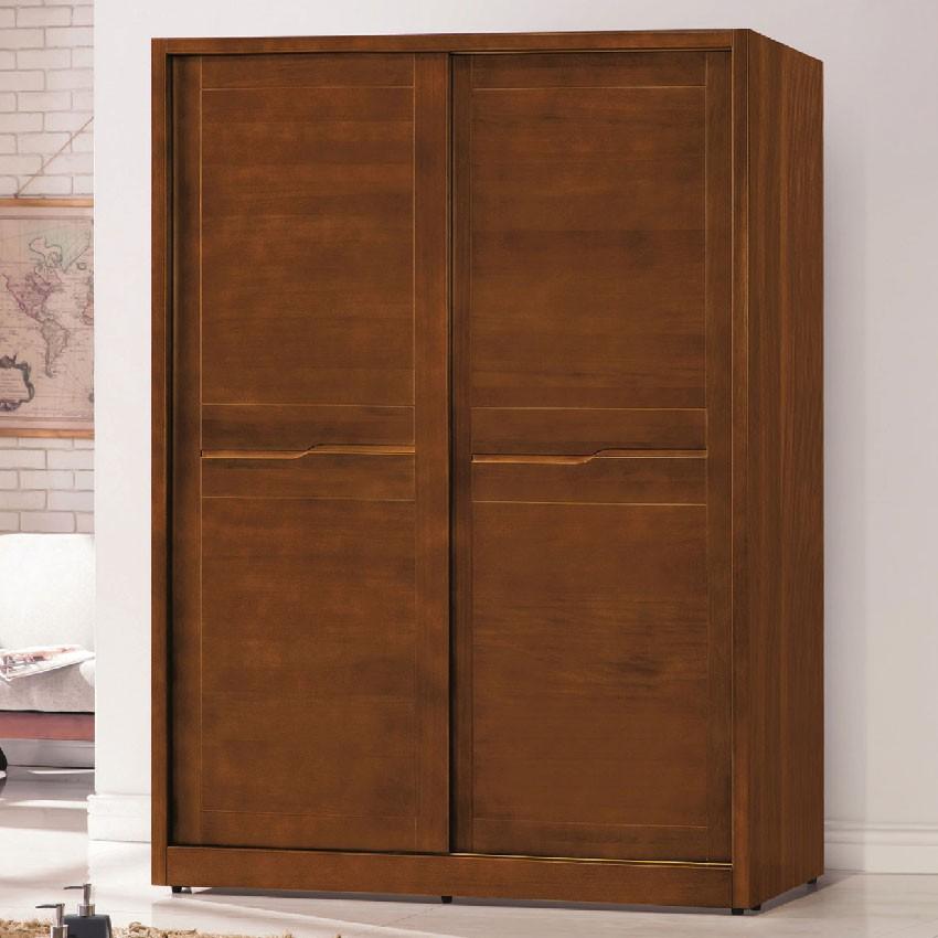 【145cm衣櫃-E153-6】木心板 推門滑門開門 衣服收納 免組裝 【金滿屋】