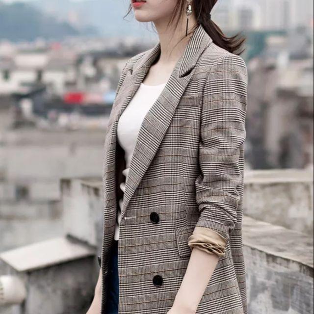 秋冬新款微彈休閒雙排格紋西裝外套