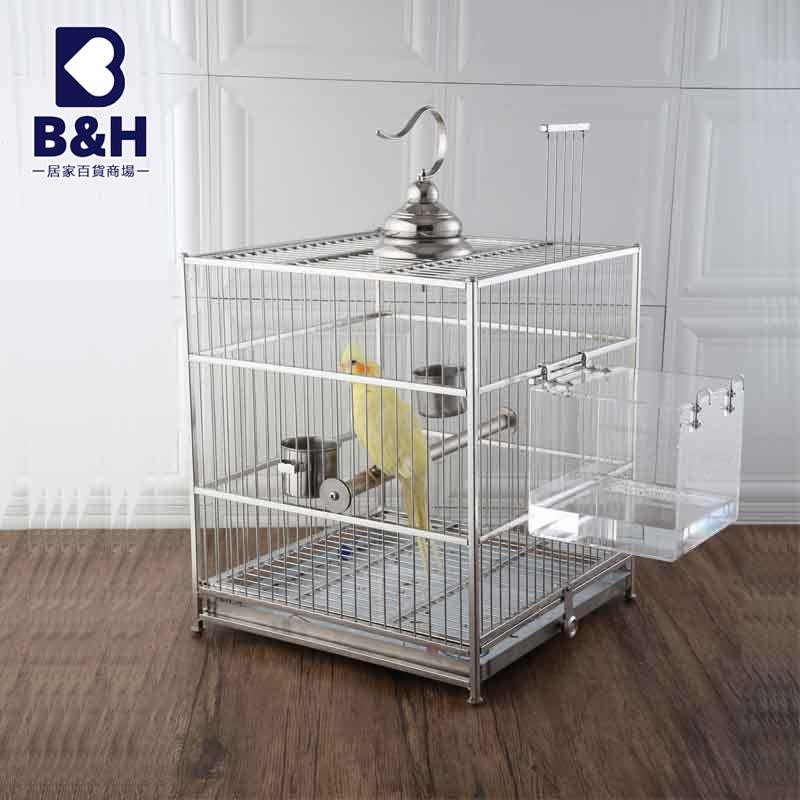 BH代购304不銹鋼鳥籠方形八哥鷯哥虎皮牡丹鸚鵡籠繁殖全套大號鳥籠子