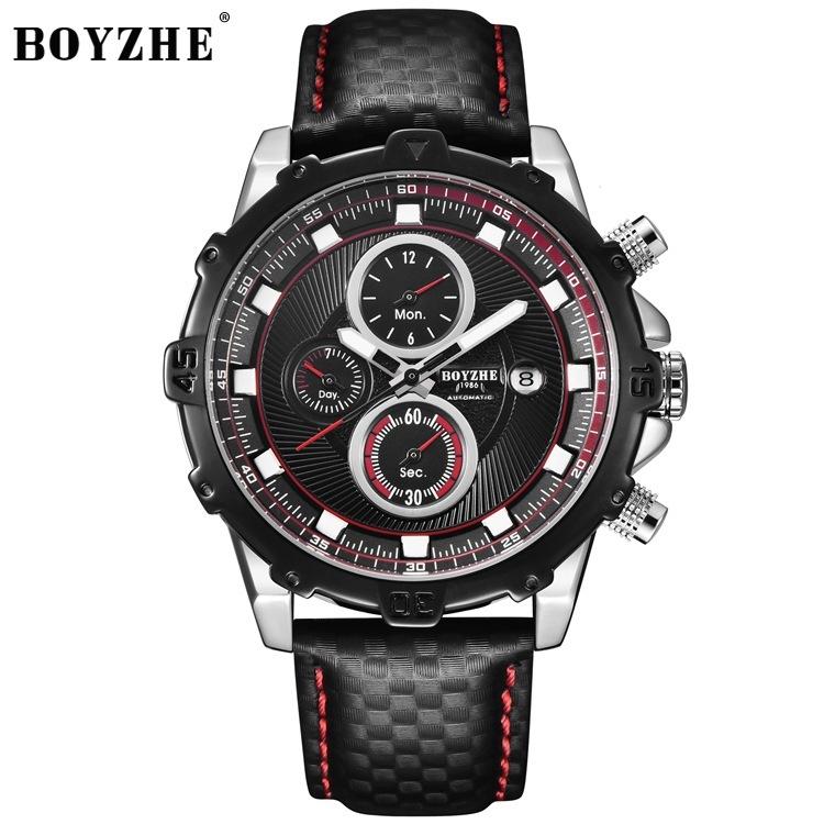 BOYZHE博雅哲全自動多功能機械手錶時尚真皮夜光高檔男士手錶WL016