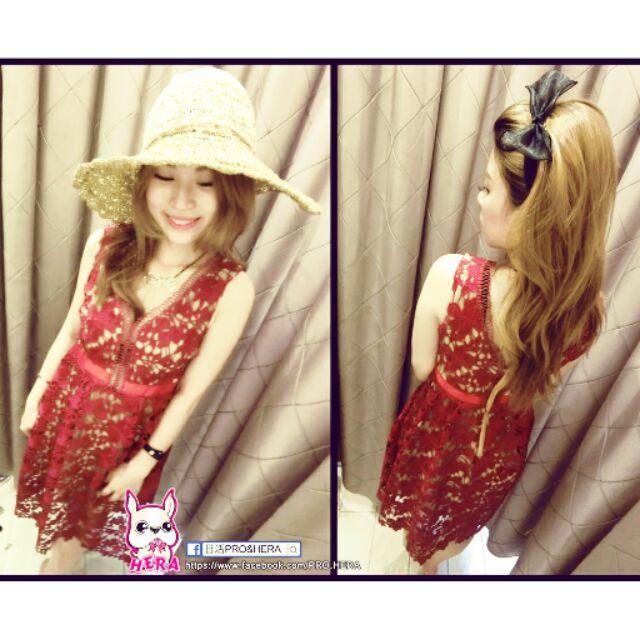 紅色蕾絲氣質款洋裝