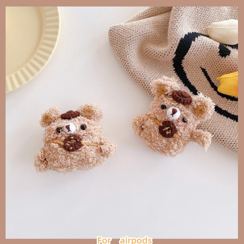 毛絨 背包小熊 Airpods pro保護套 可愛 餅乾熊 耳機套 Airpods2 保護殼 蘋果耳機保護套