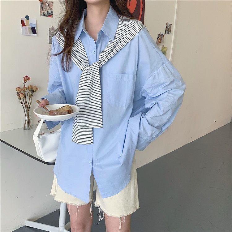 【送披肩】韓版小眾藍色條紋披肩長袖單穿兩件套襯衫