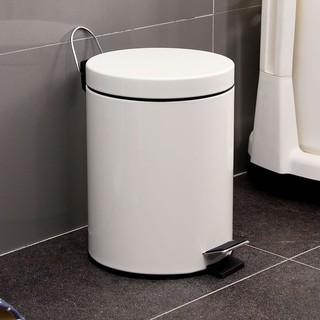 歐潤哲米白色圓形8L靜音版垃圾桶 8升腳踏式緩降有蓋垃圾筒紙簍 嘉義縣