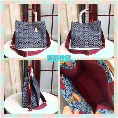娜娜精品代購 COACH 3664 最新20款Coach Canvas女生香布雷平紋牛仔托特包 購物袋 附購證