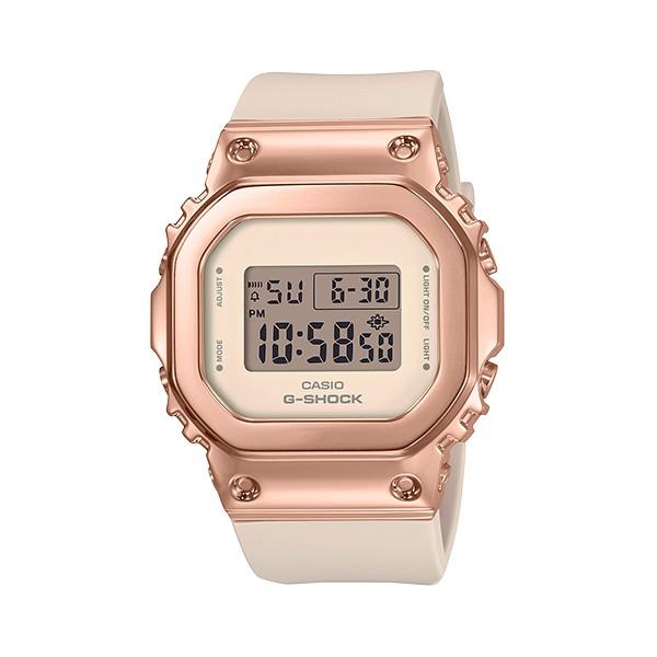 【金台鐘錶】CASIO卡西歐G-SHOCK (中性女錶) 金屬錶殼(白x玫瑰金) 防水200米 GM-S5600PG-4