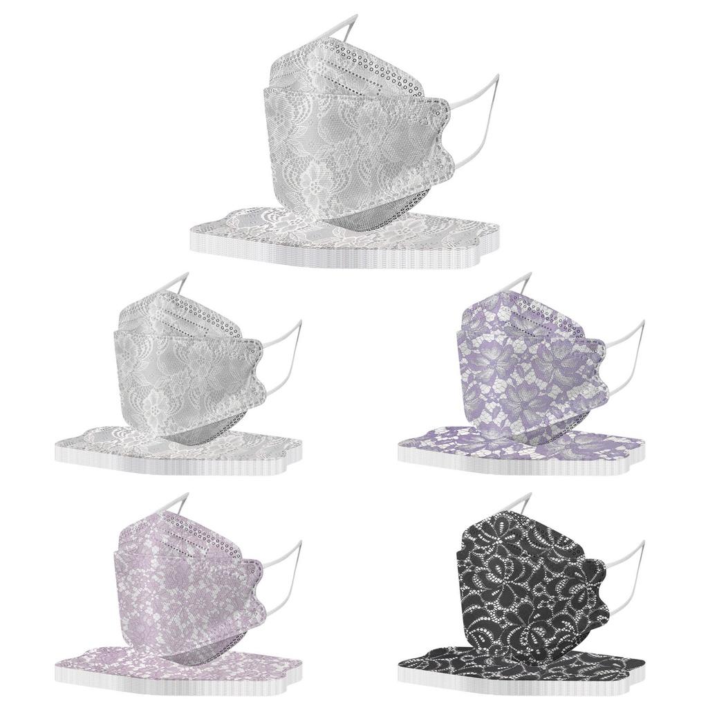 🏁台灣現貨🏁10入  KF94鱼型口罩 印花蕾丝韩版口罩 防塵透氣 柳叶型口罩成人儿童 face mask