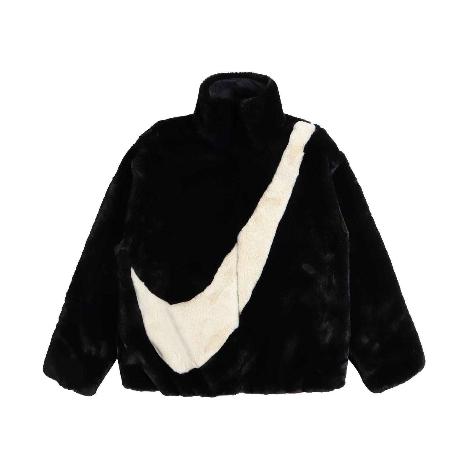 Nike 外套 NSW Faux Fur Jacket 黑 白 女款 羔羊外套 絨毛 勾勾【ACS】CU6559-010