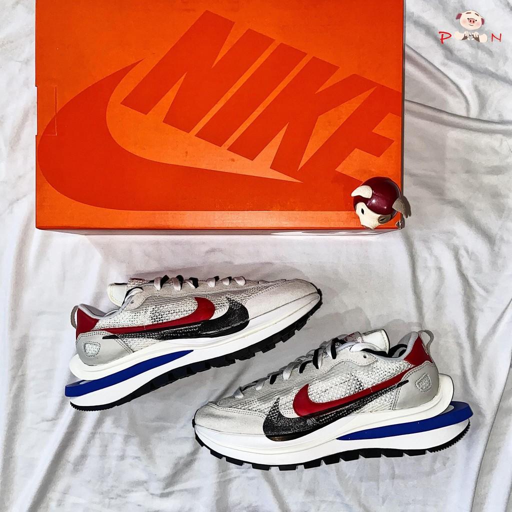 【環球代購】Sacai x Nike Vaporwaffle 白紅藍 雙勾 結構 CV1363-100
