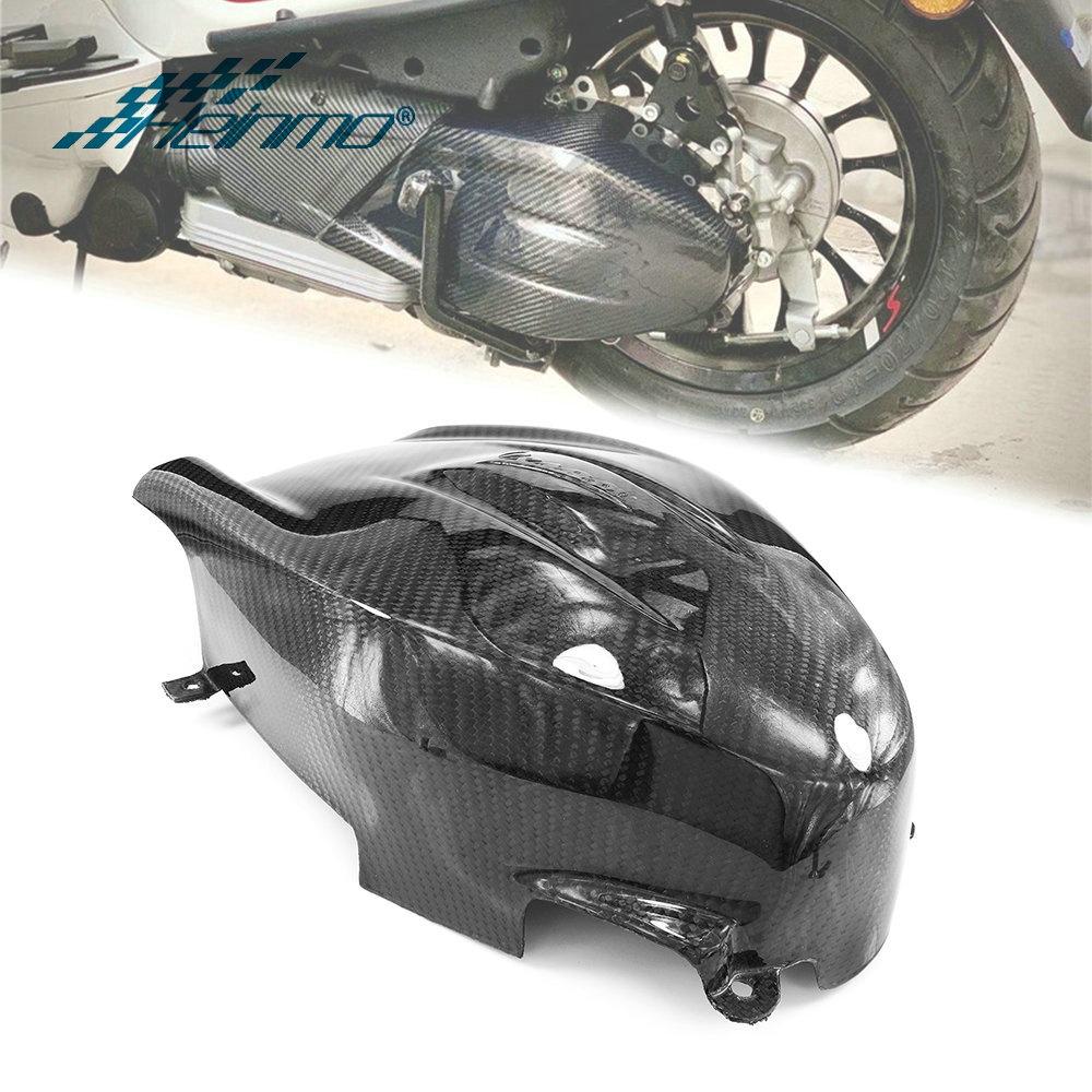 摩托車傳動蓋變速箱隔熱罩保護器發動機罩碳纖維變速箱適用於比亞橋偉士牌Vespa 春天衝刺150 2017-2021