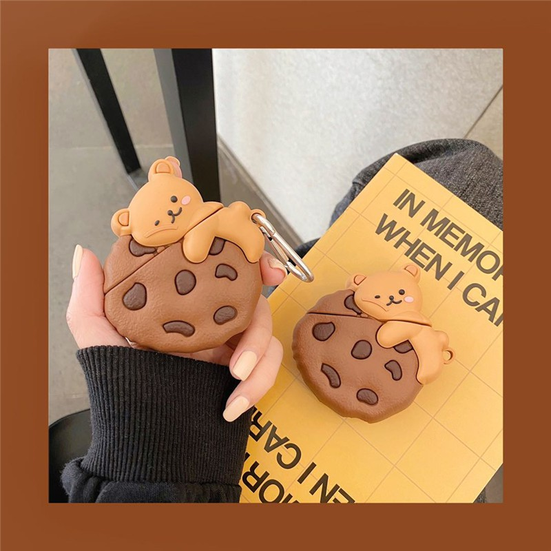 Airpods Pro 123代蘋果耳機保護套可愛曲奇餅乾小熊