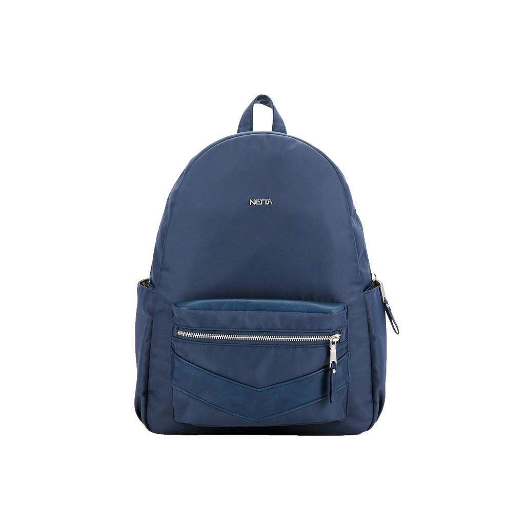 率性尼龍皮革後背包 — 知性藍 / NETTA城市輕盈II / 多口袋後背包