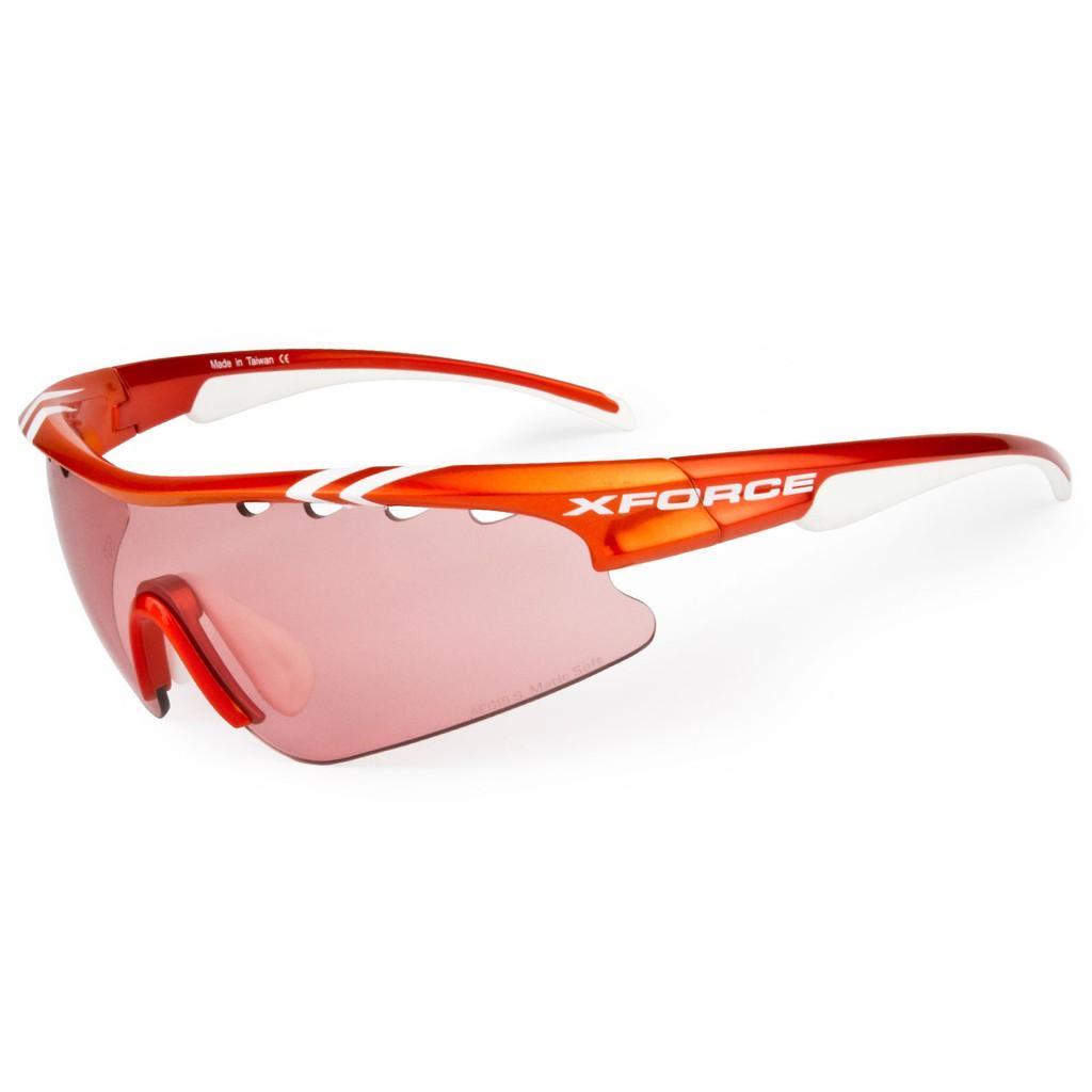 【XFORCE】ThunderSR 雷鳴SR 金屬橘/白 公路車 運動太陽眼鏡 高速變色 特殊抗油污鏡片