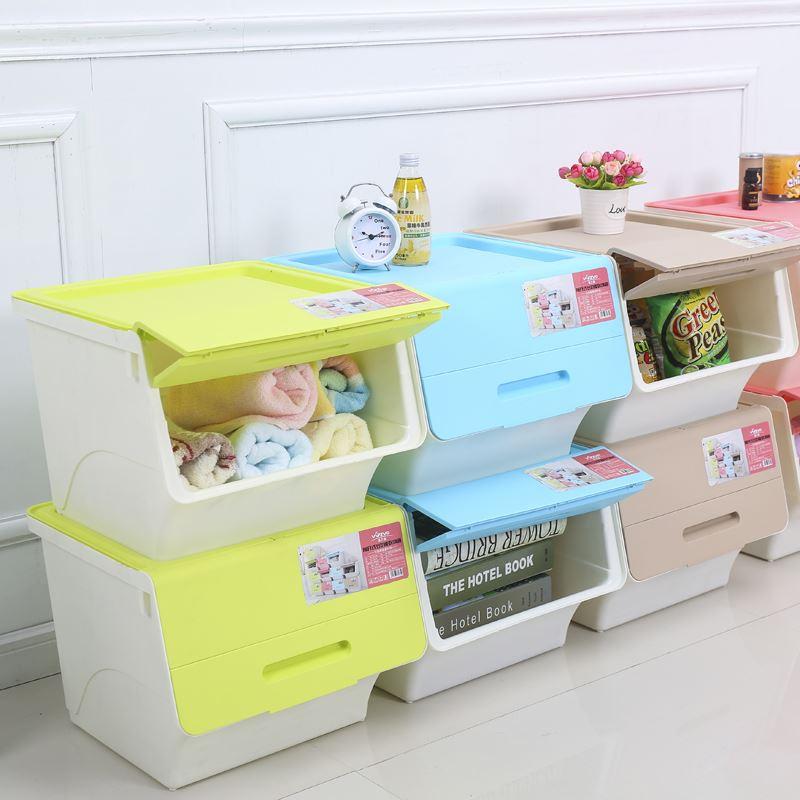 收納箱塑膠大號翻蓋透明整理箱側開式家用斜口箱玩具收納盒儲物箱