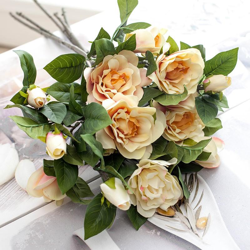 y高仿真花梔子花茶花單枝假花絹花客廳餐桌裝飾花干花擺放花藝
