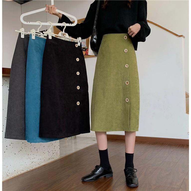 秋季韓版chic側邊排扣中長裙高腰時尚半身裙女