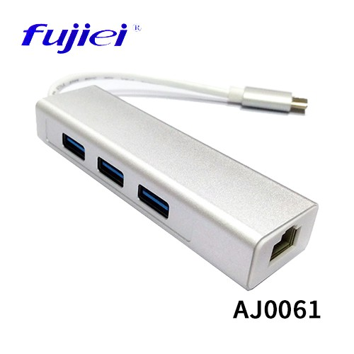 Fujiei 力祥 USB3.1 Type C轉RJ45擴充3 PORT USB 3.0 HUB AJ0061