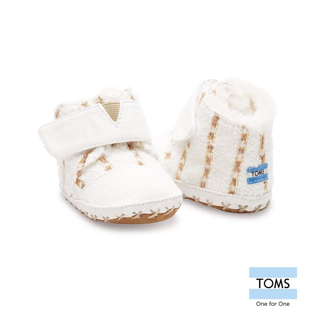 美國原廠 TOMS童鞋 白色金蔥條紋刷毛嬰兒鞋 休閒鞋 (10公分)