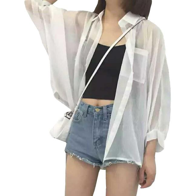 夏季新款雪紡防曬衫中長款外搭薄外套沙灘防曬衣