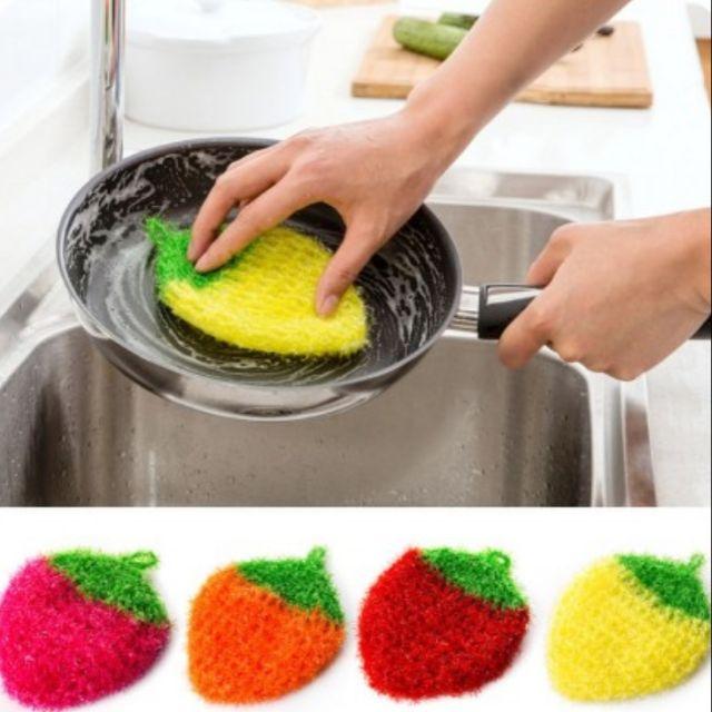 草莓造型 韓國風 菜瓜布 洗碗刷 顏色隨機
