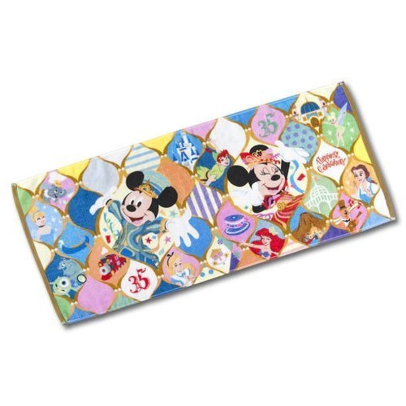 清倉 日本 Disney 迪士尼 35週年限定 米奇米妮長毛巾約34x80cm 1入