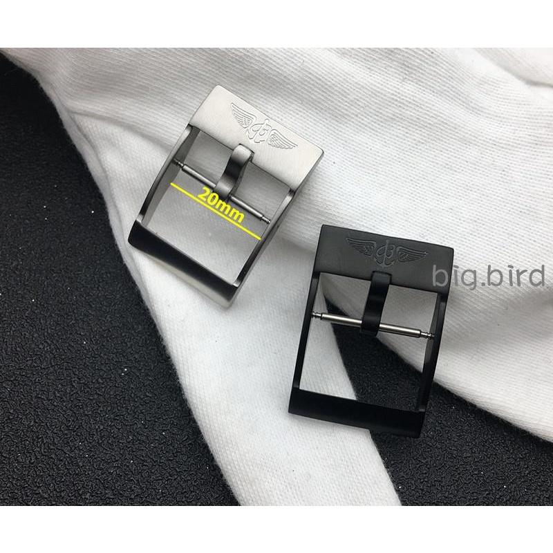 🎭🏇代用百年靈手表帶表扣Breitling膠帶精鋼日字扣 20mm鋼色黑色
