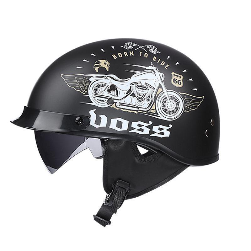 現貨 免運 VOSS電動車復古哈雷安全帽男女輕便式半盔四季半盔復古安全帽瓢盔 全罩 半罩 安全帽