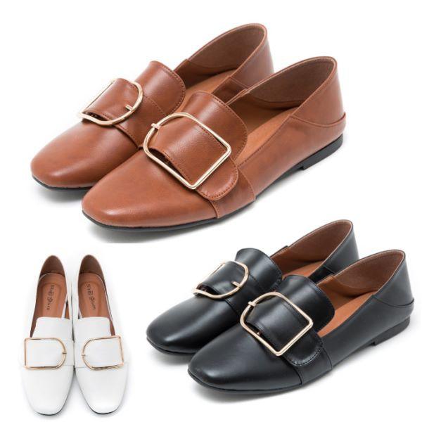 【白鳥麗子】2WAY兩穿可後踩鞋 MIT簡約百搭金屬釦平底小皮鞋包鞋