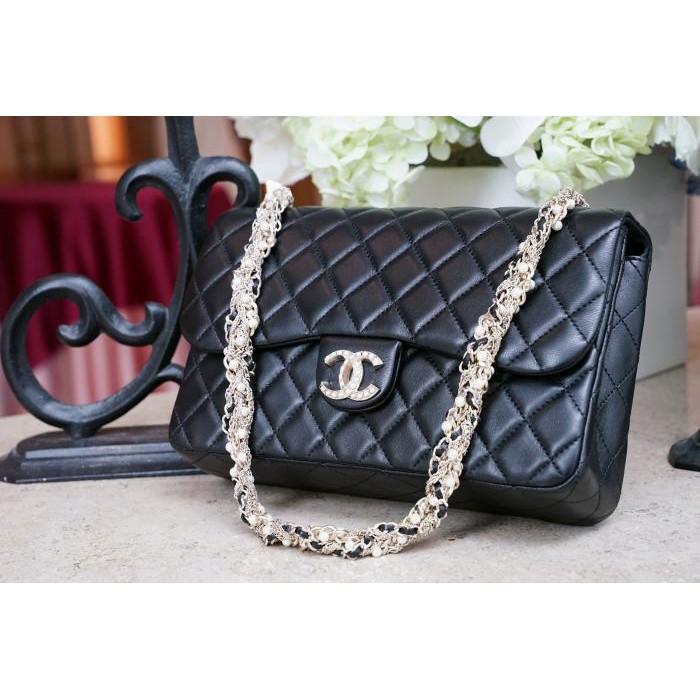 Chanel 香奈兒包 A994305 Westminster Flap 菱格紋羊皮珍珠鍊帶包 黑 現貨