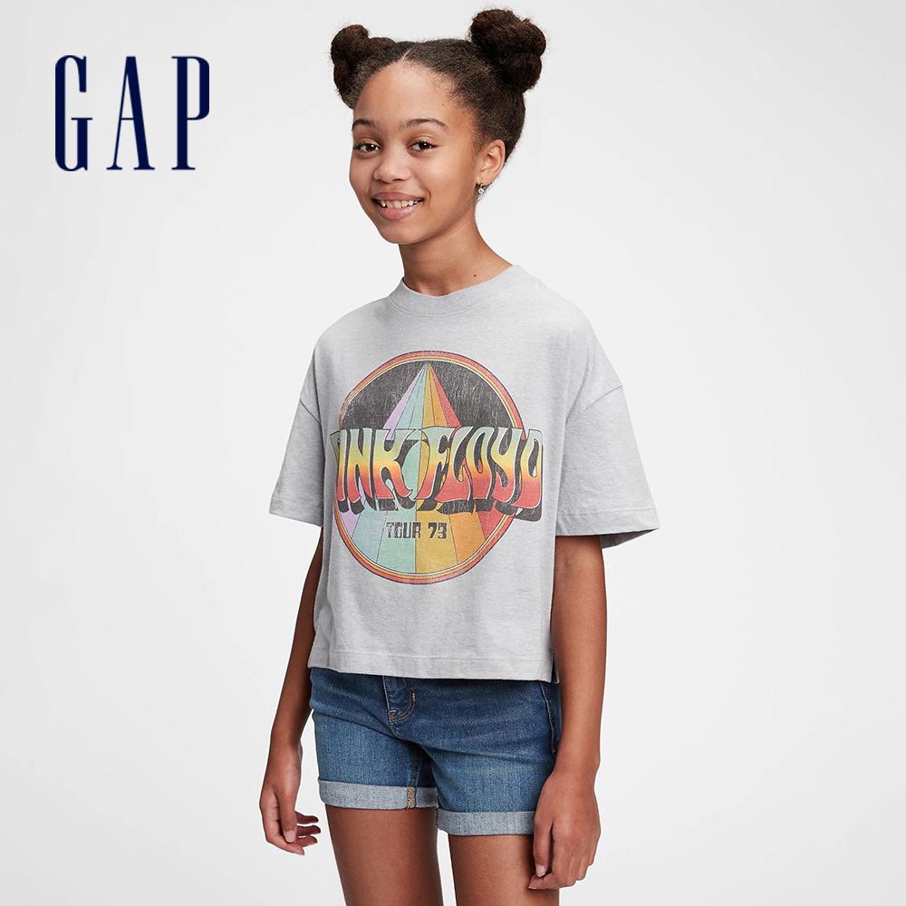 Gap 女童 創意印花圓領短袖T恤 733612-灰色