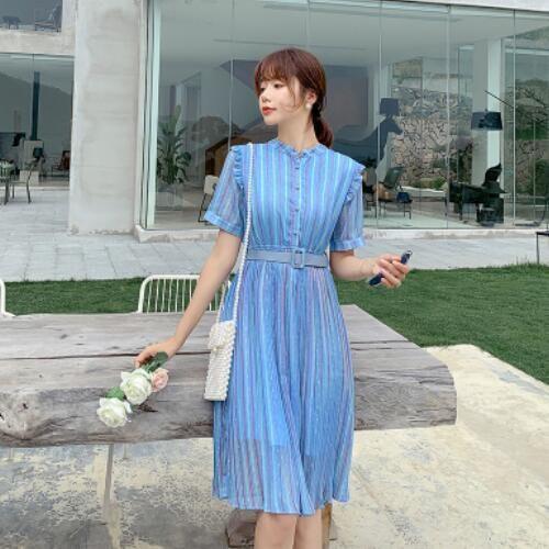 洋裝 裙子 小清新 短袖 S-XL新款雪紡藍色條紋連身裙式收腰顯瘦氣質長裙H325-9101.胖胖美依