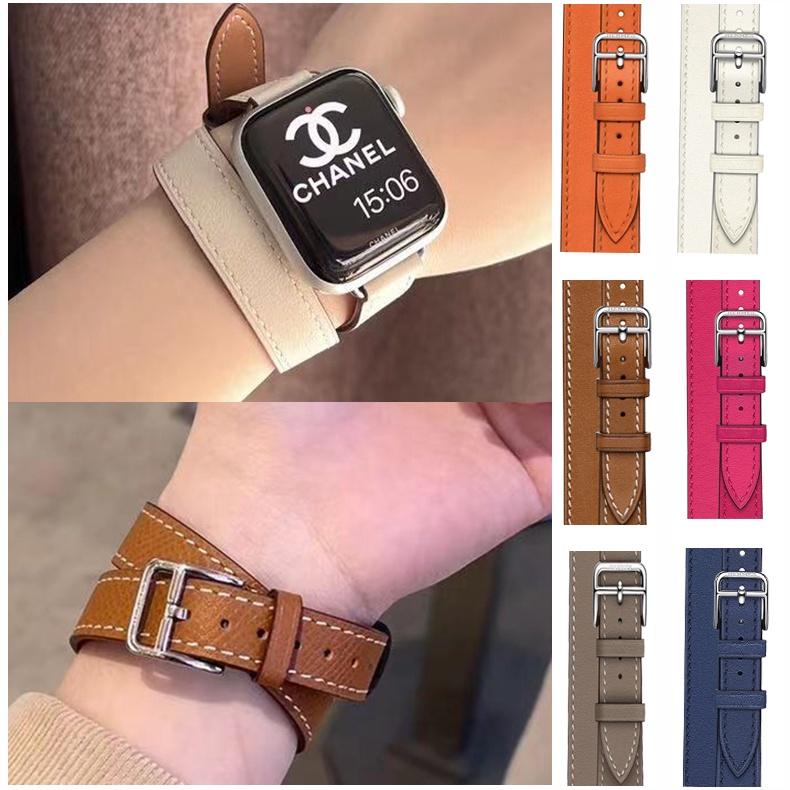 用於Apple watch1/2/3/4/5/6 SE代愛馬仕細版雙圈錶帶  iwatch愛馬仕同款小蠻腰真皮錶帶