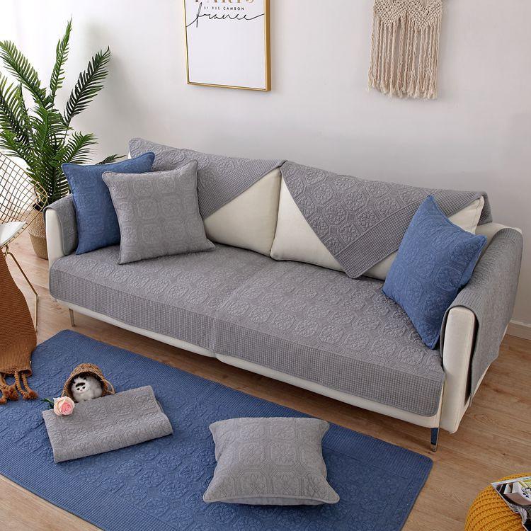 【新品現貨】跨境水洗純棉絎縫刺繡沙發墊 銷往韓國全棉防滑沙發巾套