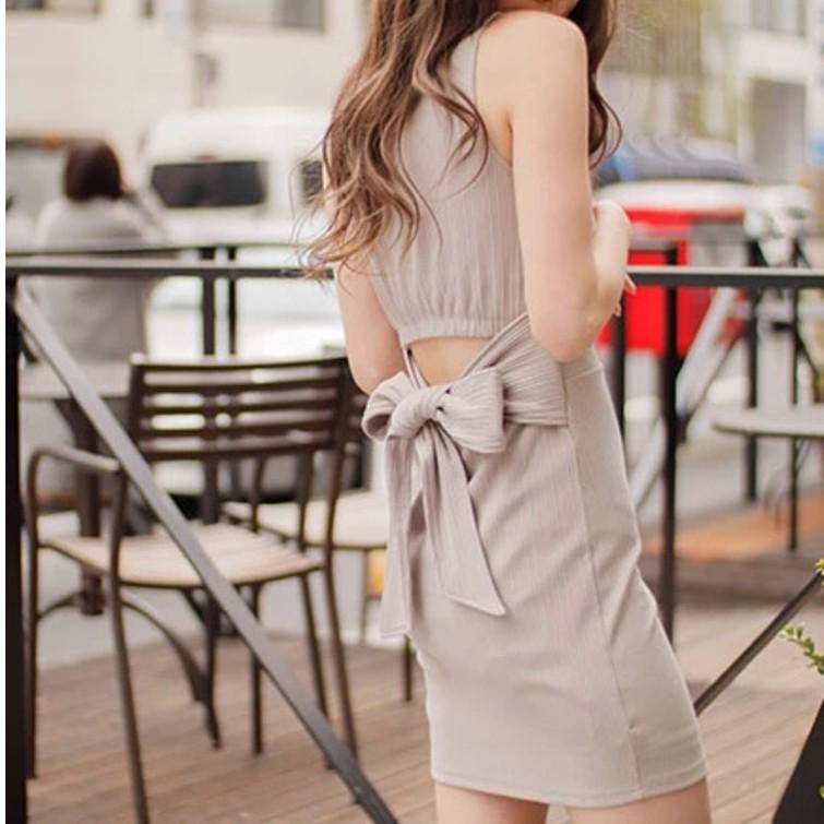 LIP SERVICE【V0151-006】露腰綁帶無袖洋裝(3色)