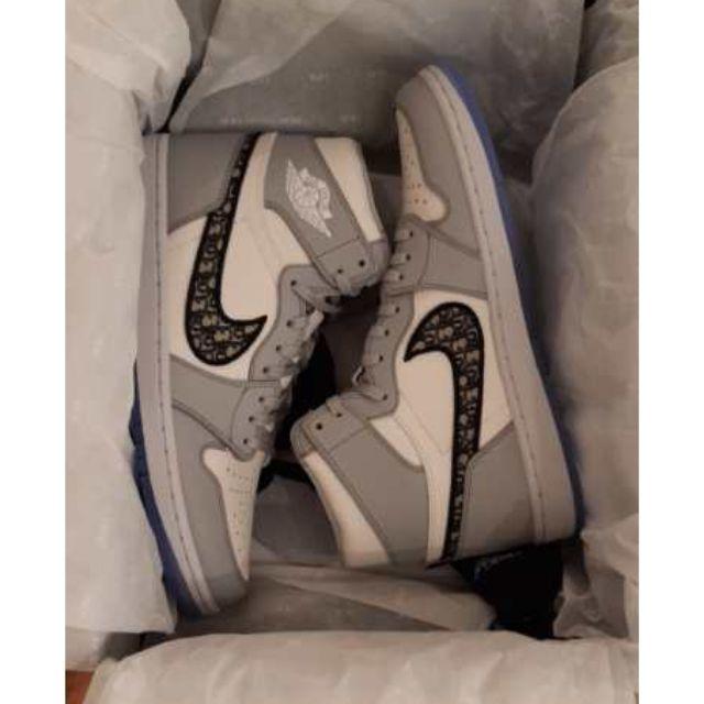 ❴✨保證全新專櫃正品✨❵ Dior X Nike air Jordan 1 聯名 白灰 高筒 (US10.5)