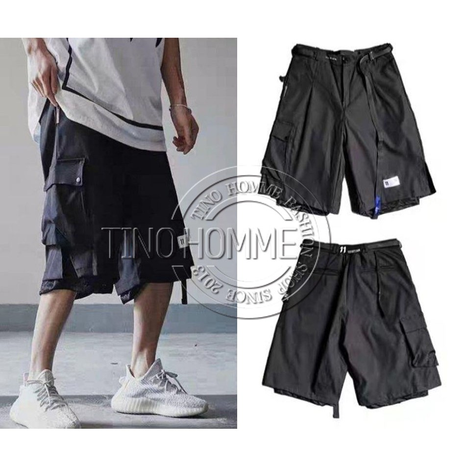 《TINO HOMME》2019春夏新款歐美潮牌 BBS11 LOGO印花假二件多口袋工裝褲五分褲