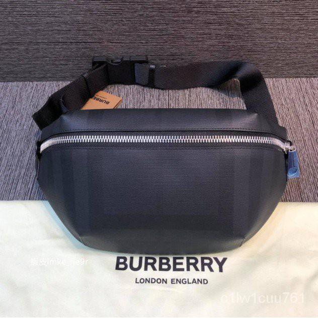 二手二手正品 Burberry London 格紋拼皮革中型腰包 80142371 owM3