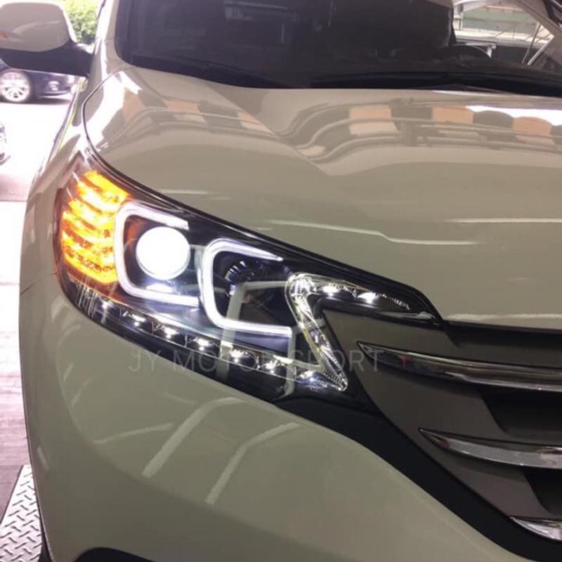 ☆小傑車燈☆全新限量版NEW CRV 13 14 15 16 CRV 4代黑框 雙C 類R8燈眉 光圈 魚眼大燈.