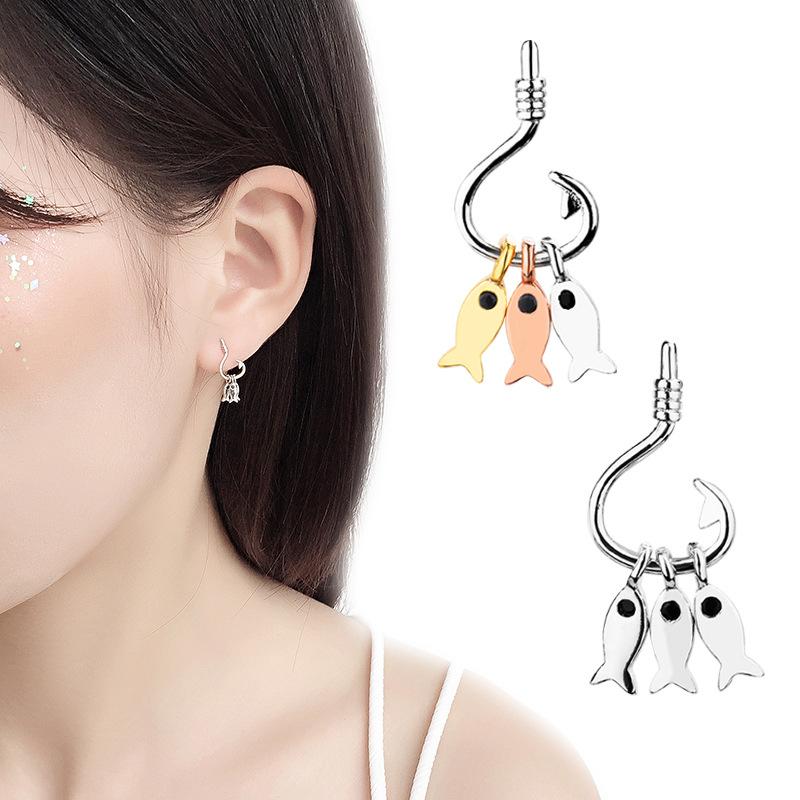 會動的耳釘女創意設計魚鉤耳飾韓版新款簡約個性三條小魚耳環耳墜